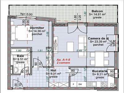 Apartament 2 camere, confort sporit cu terasa 15 mp, nou, semifinisat, Centru, P-ta Abator